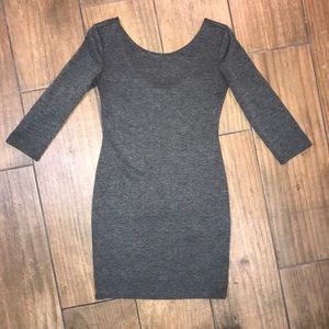 Gray Scoop-Backed Bodycon